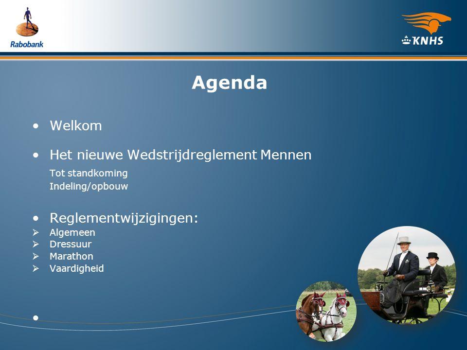 Agenda Welkom Het nieuwe Wedstrijdreglement Mennen