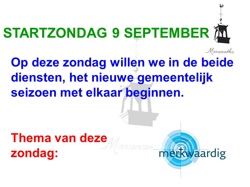 STARTZONDAG 9 SEPTEMBER