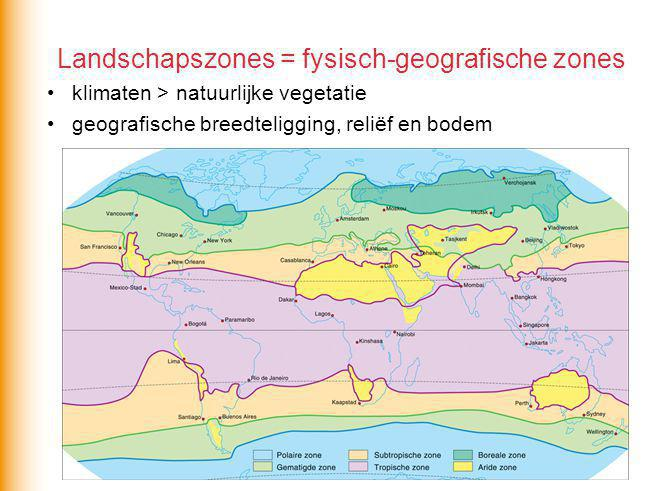 Landschapszones = fysisch-geografische zones