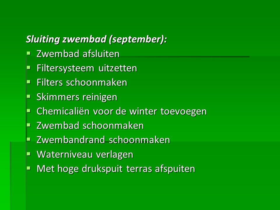 Sluiting zwembad (september):