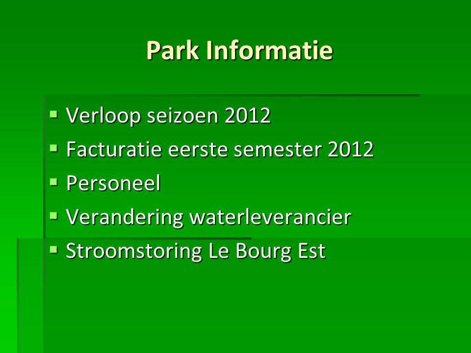 Park Informatie Verloop seizoen 2012 Facturatie eerste semester 2012