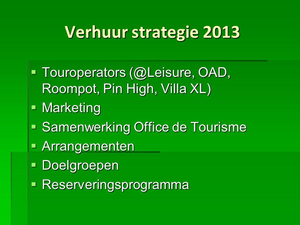 Verhuur strategie 2013 Touroperators (@Leisure, OAD, Roompot, Pin High, Villa XL) Marketing. Samenwerking Office de Tourisme.