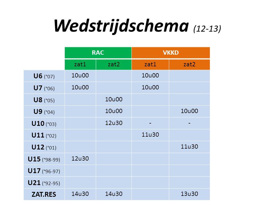 Wedstrijdschema (12-13) U6 (°07) U7 (°06) U8 (°05) U9 (°04) U10 (°03)