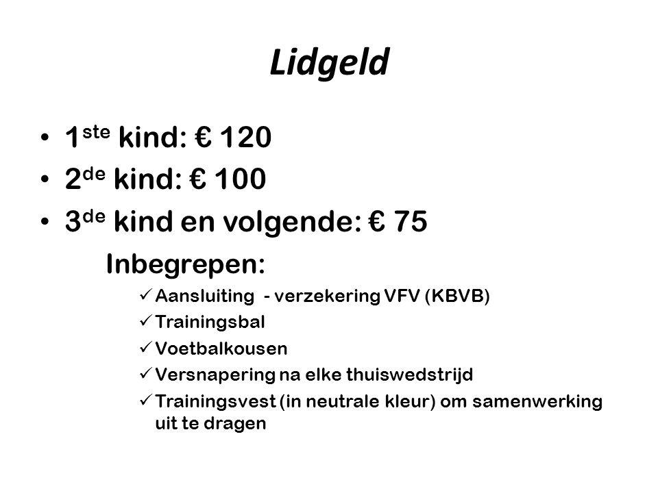 Lidgeld 1ste kind: € 120 2de kind: € 100 3de kind en volgende: € 75