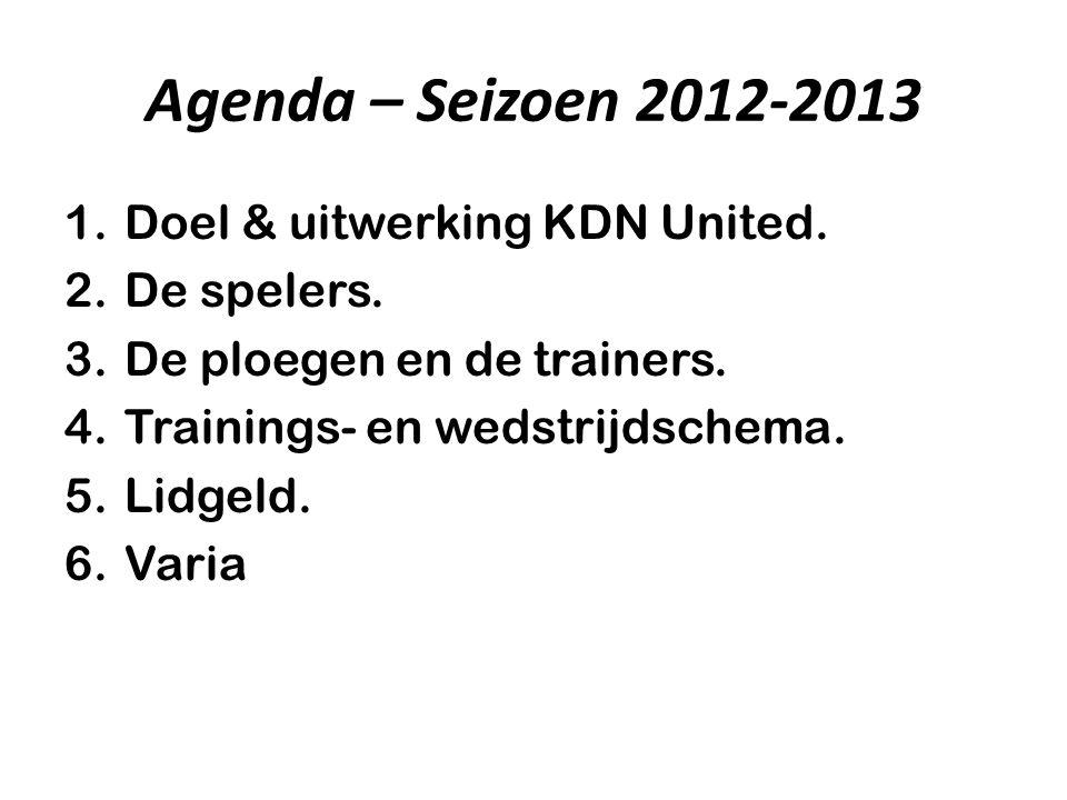 Agenda – Seizoen 2012-2013 Doel & uitwerking KDN United. De spelers.