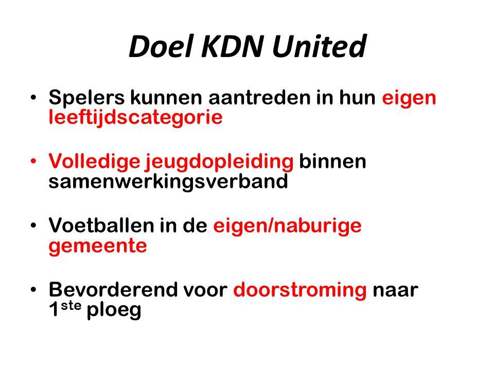 Doel KDN United Spelers kunnen aantreden in hun eigen leeftijdscategorie. Volledige jeugdopleiding binnen samenwerkingsverband.