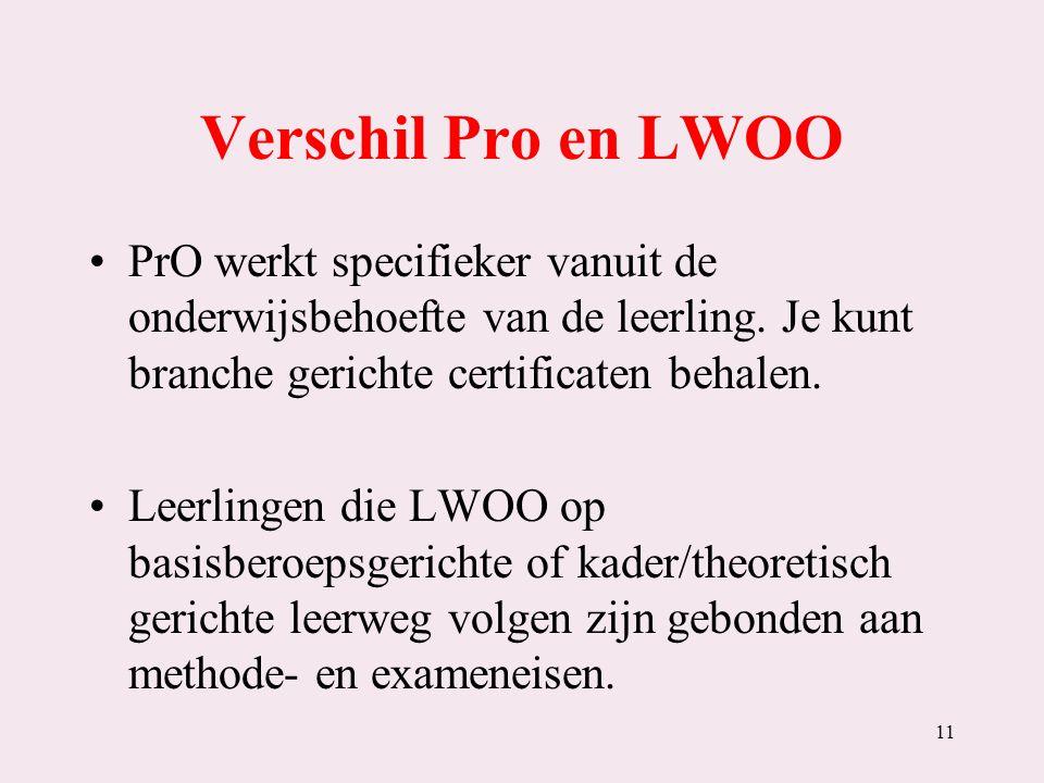 Verschil Pro en LWOO PrO werkt specifieker vanuit de onderwijsbehoefte van de leerling. Je kunt branche gerichte certificaten behalen.
