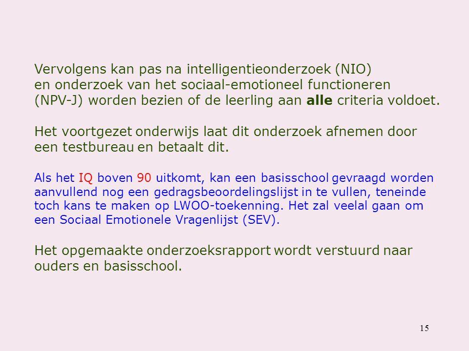 Vervolgens kan pas na intelligentieonderzoek (NIO) en onderzoek van het sociaal-emotioneel functioneren (NPV-J) worden bezien of de leerling aan alle criteria voldoet.
