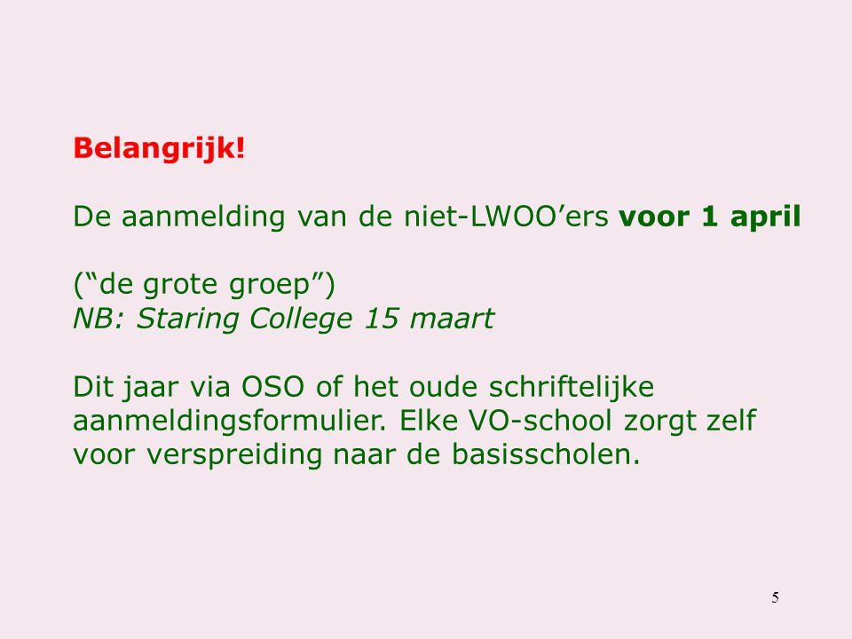 Belangrijk! De aanmelding van de niet-LWOO'ers voor 1 april. ( de grote groep ) NB: Staring College 15 maart.