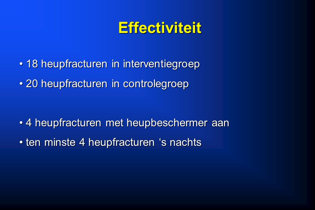 Effectiviteit 18 heupfracturen in interventiegroep