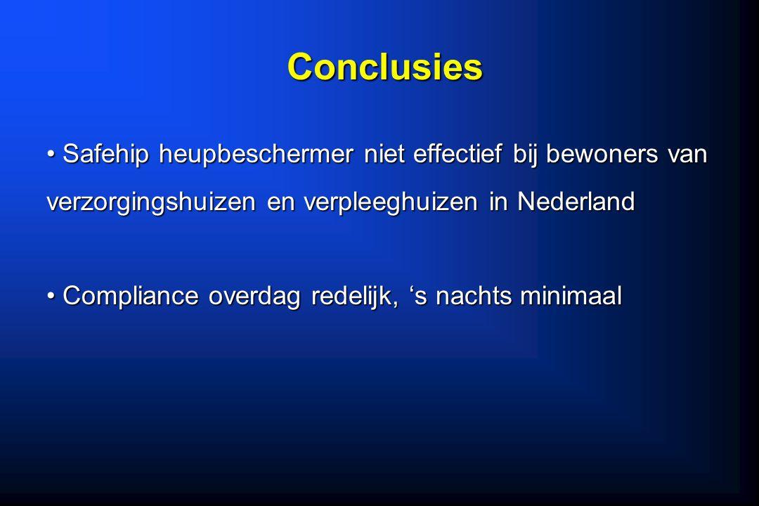 Conclusies Safehip heupbeschermer niet effectief bij bewoners van verzorgingshuizen en verpleeghuizen in Nederland.