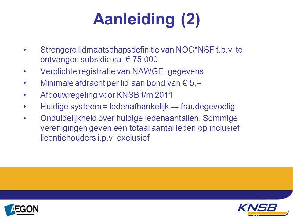 Aanleiding (2) Strengere lidmaatschapsdefinitie van NOC*NSF t.b.v. te ontvangen subsidie ca. € 75.000.