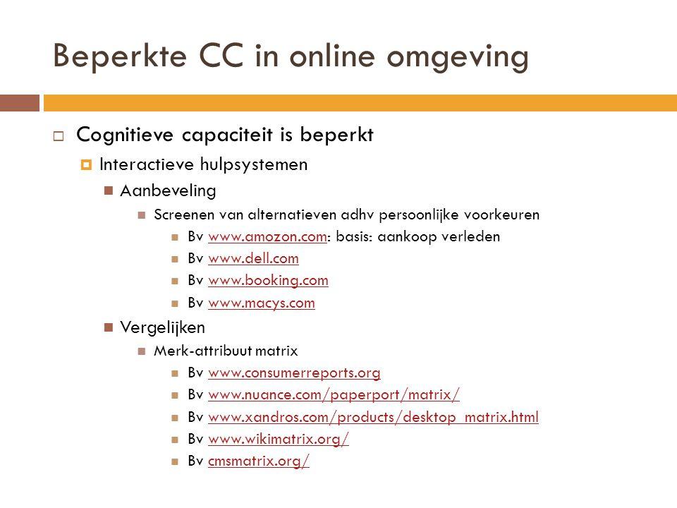 Beperkte CC in online omgeving