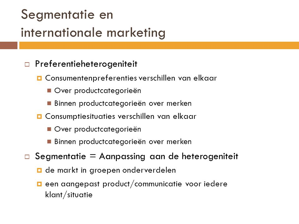 Segmentatie en internationale marketing