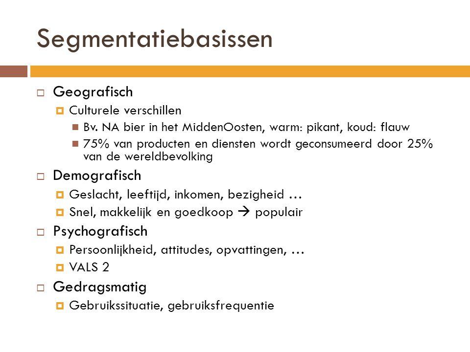 Segmentatiebasissen Geografisch Demografisch Psychografisch