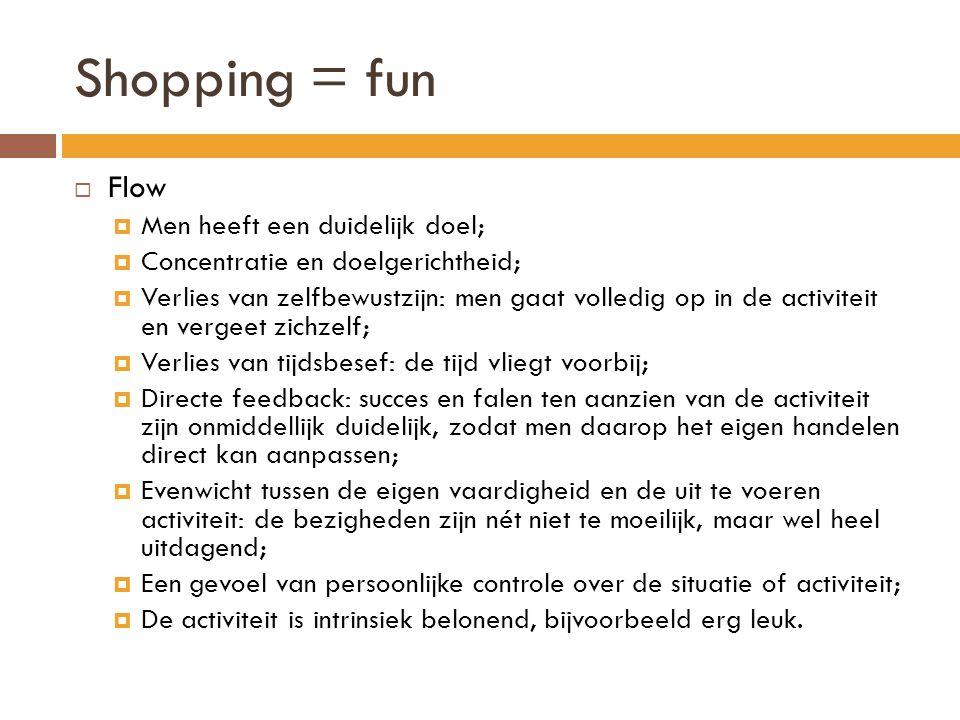 Shopping = fun Flow Men heeft een duidelijk doel;