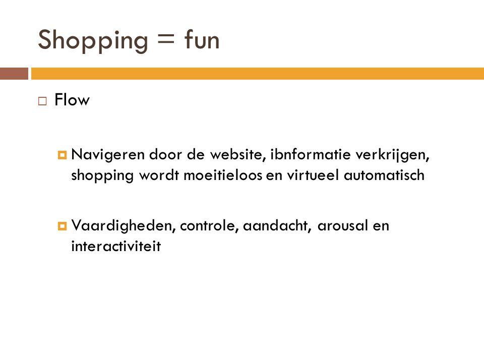Shopping = fun Flow. Navigeren door de website, ibnformatie verkrijgen, shopping wordt moeitieloos en virtueel automatisch.