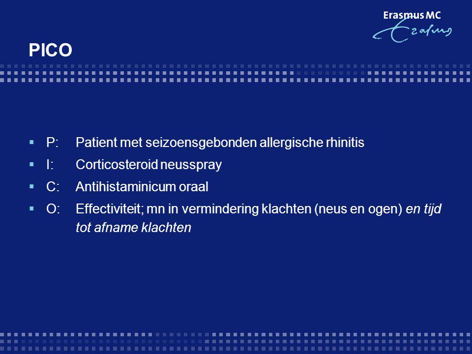 PICO P: Patient met seizoensgebonden allergische rhinitis