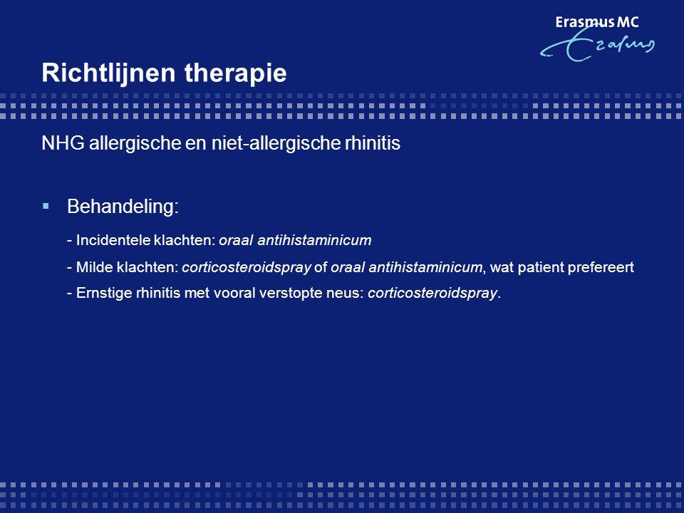 Richtlijnen therapie NHG allergische en niet-allergische rhinitis