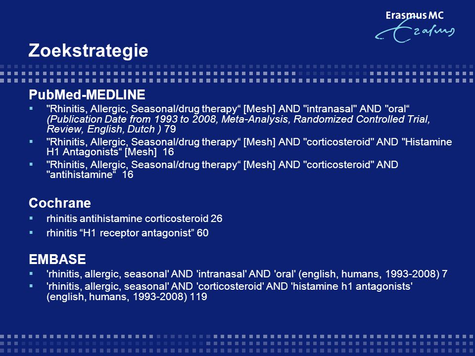 Zoekstrategie PubMed-MEDLINE Cochrane EMBASE