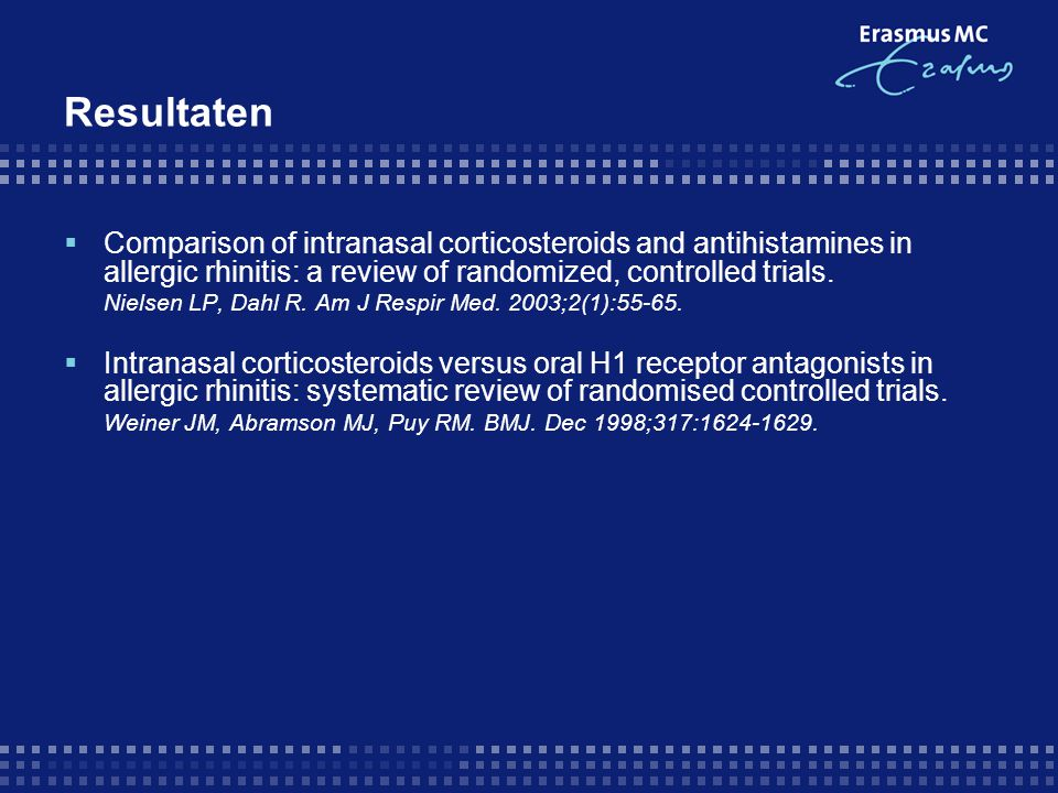 Resultaten Comparison of intranasal corticosteroids and antihistamines in allergic rhinitis: a review of randomized, controlled trials.