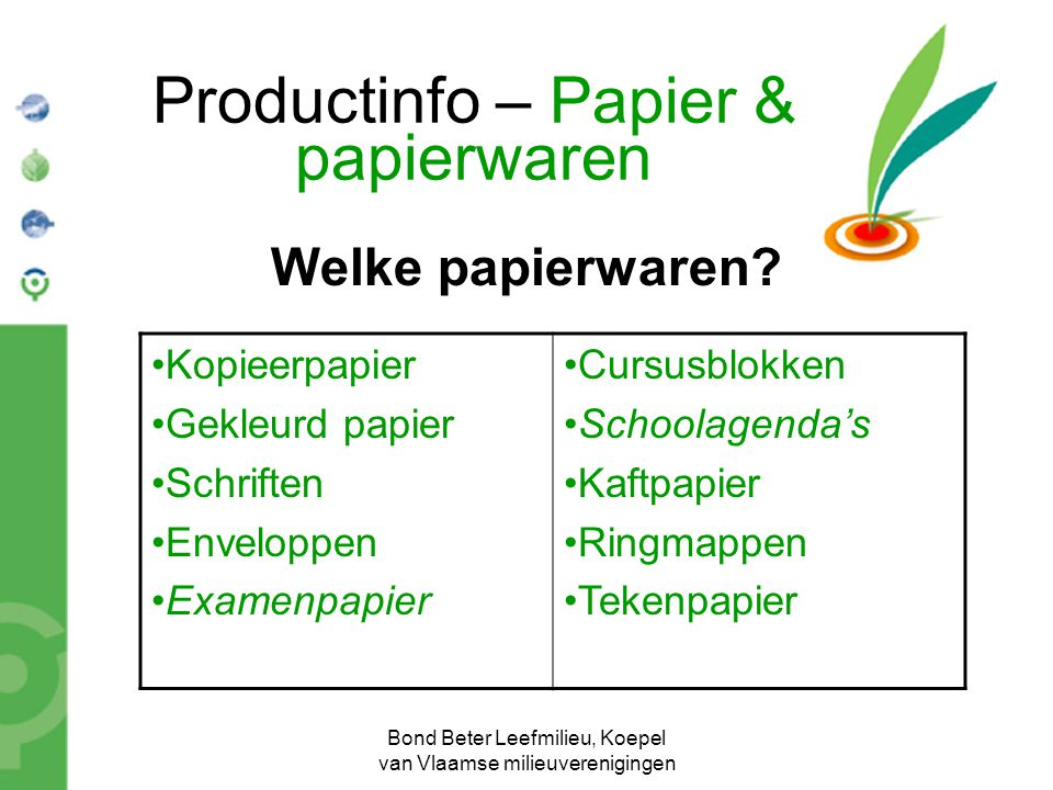 Productinfo – Papier & papierwaren
