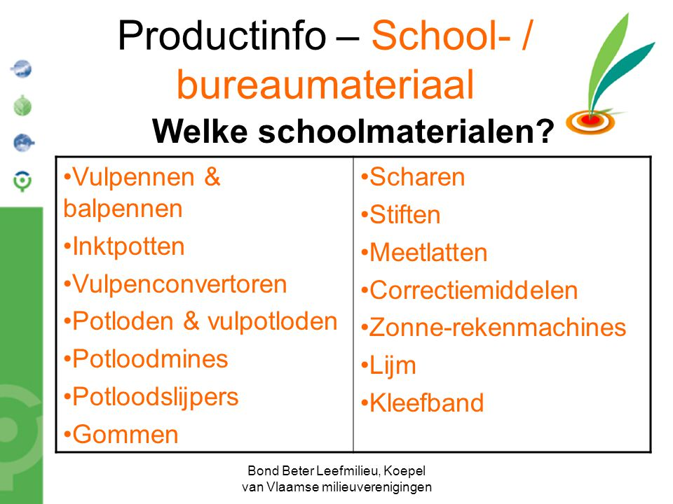 Productinfo – School- / bureaumateriaal