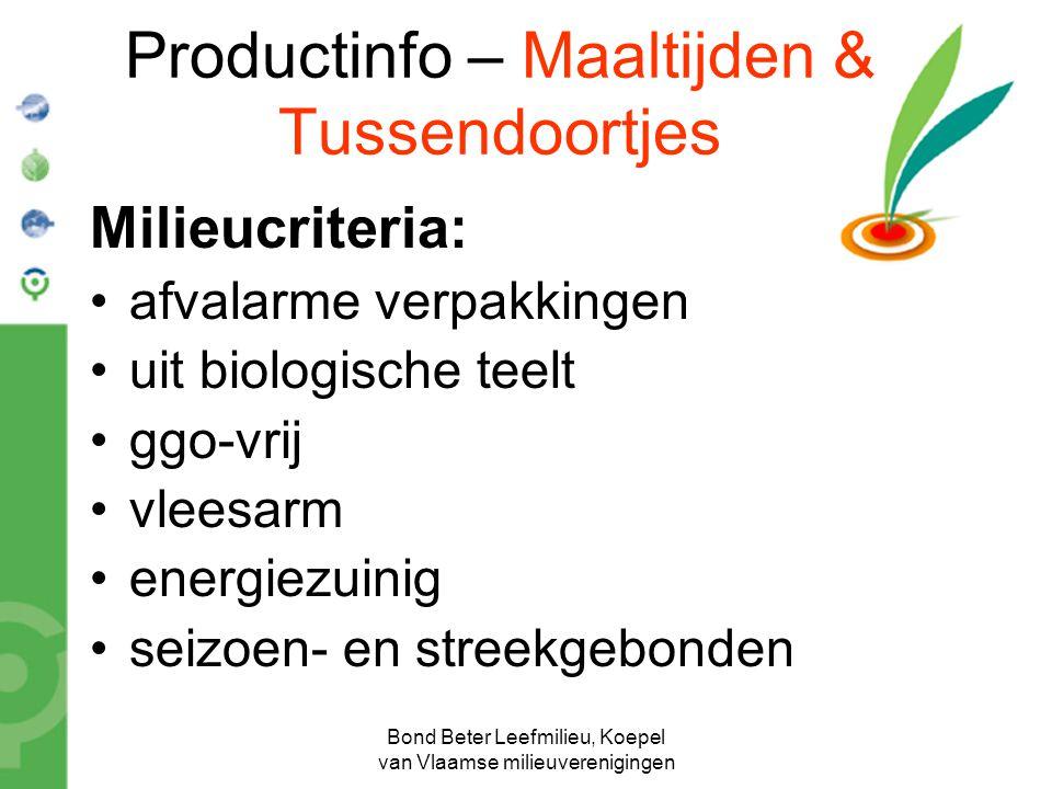 Productinfo – Maaltijden & Tussendoortjes