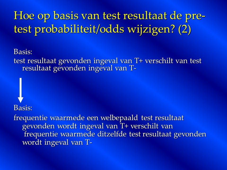 Hoe op basis van test resultaat de pre-test probabiliteit/odds wijzigen (2)