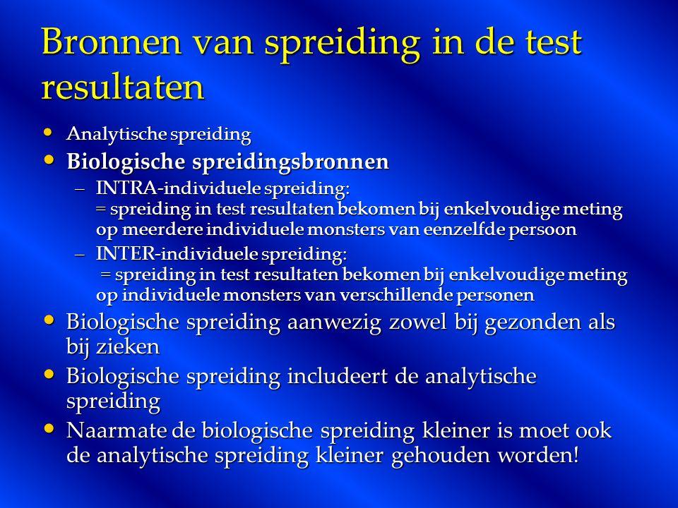 Bronnen van spreiding in de test resultaten