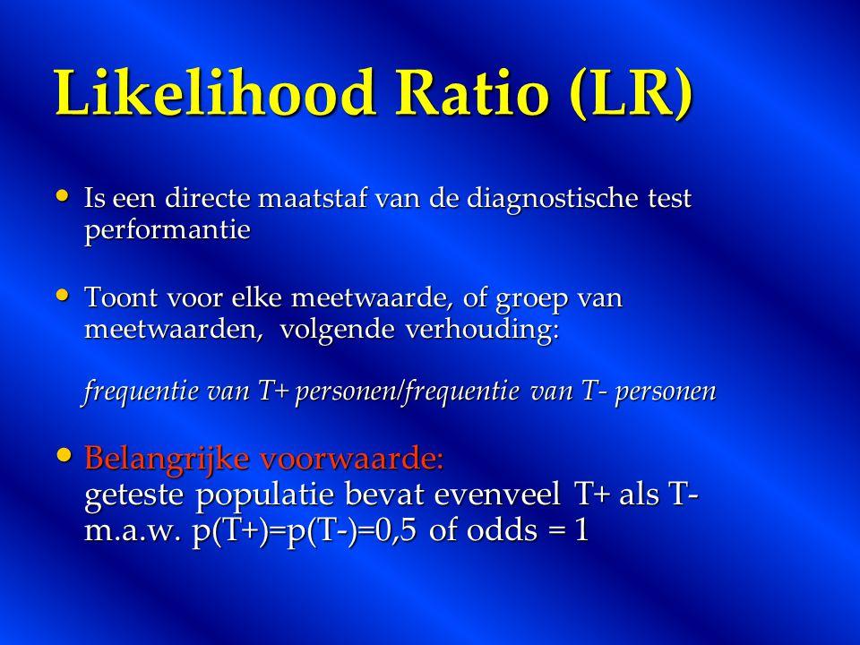 Likelihood Ratio (LR) Is een directe maatstaf van de diagnostische test performantie.