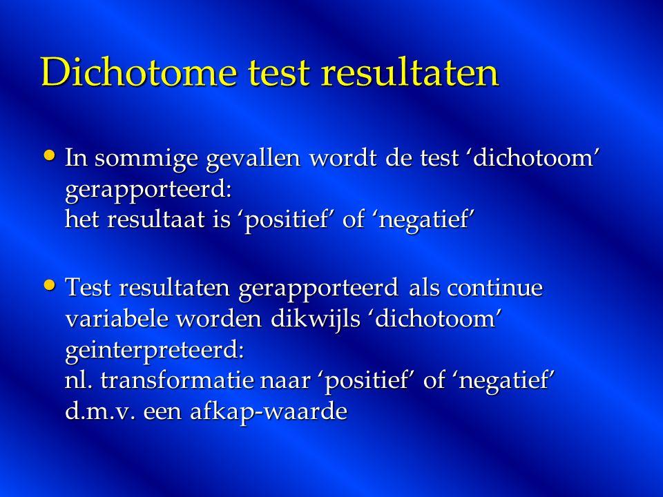 Dichotome test resultaten