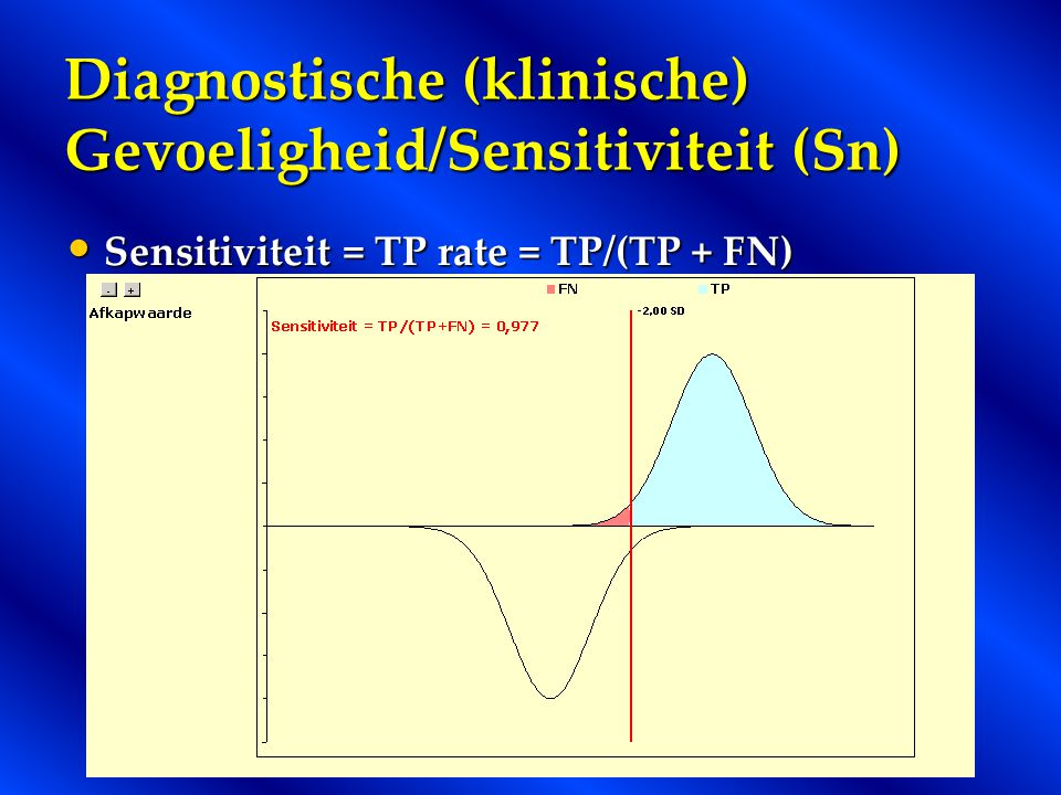 Diagnostische (klinische) Gevoeligheid/Sensitiviteit (Sn)