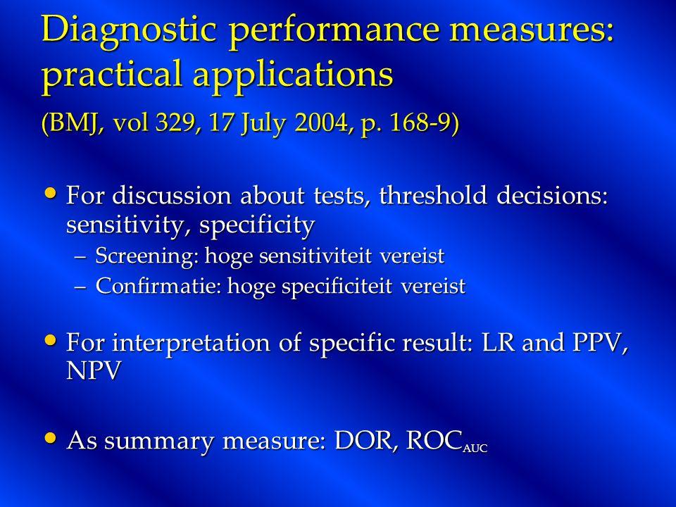 Diagnostic performance measures: practical applications (BMJ, vol 329, 17 July 2004, p. 168-9)