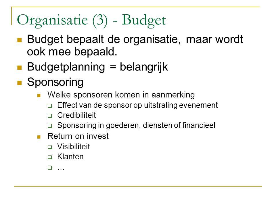 Organisatie (3) - Budget