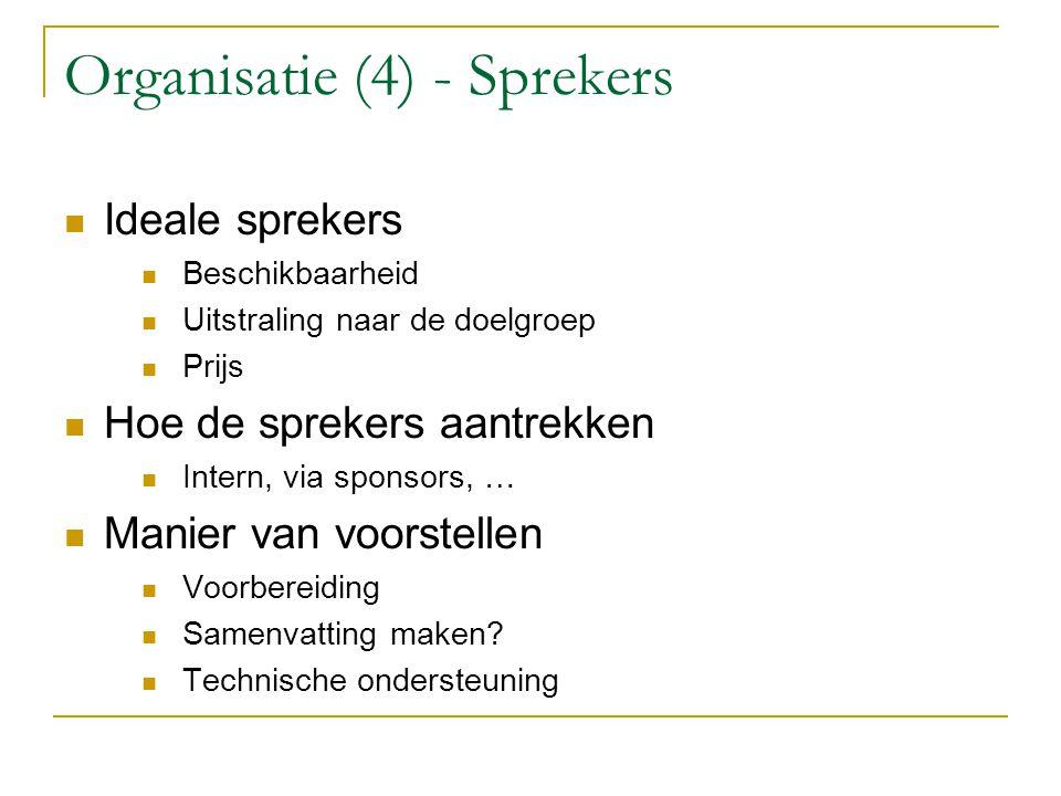 Organisatie (4) - Sprekers