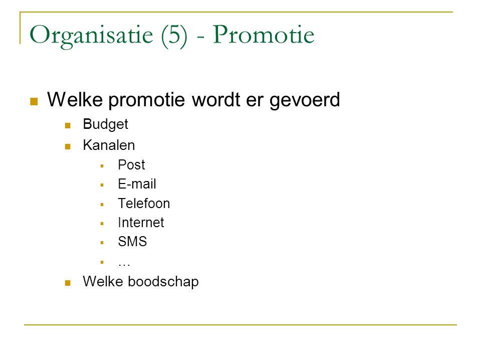 Organisatie (5) - Promotie