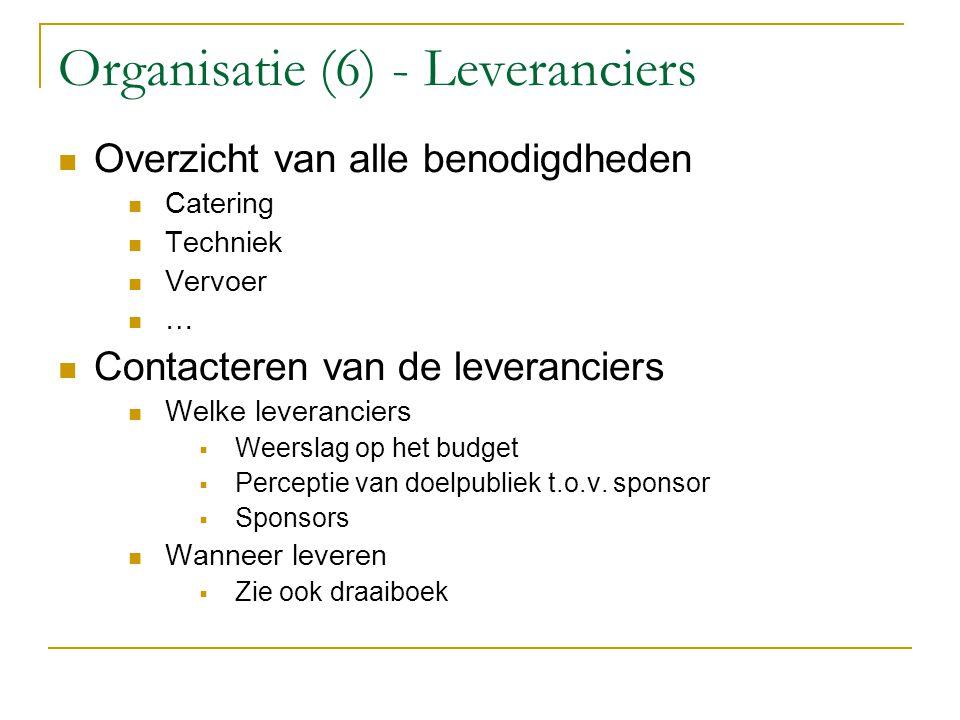 Organisatie (6) - Leveranciers