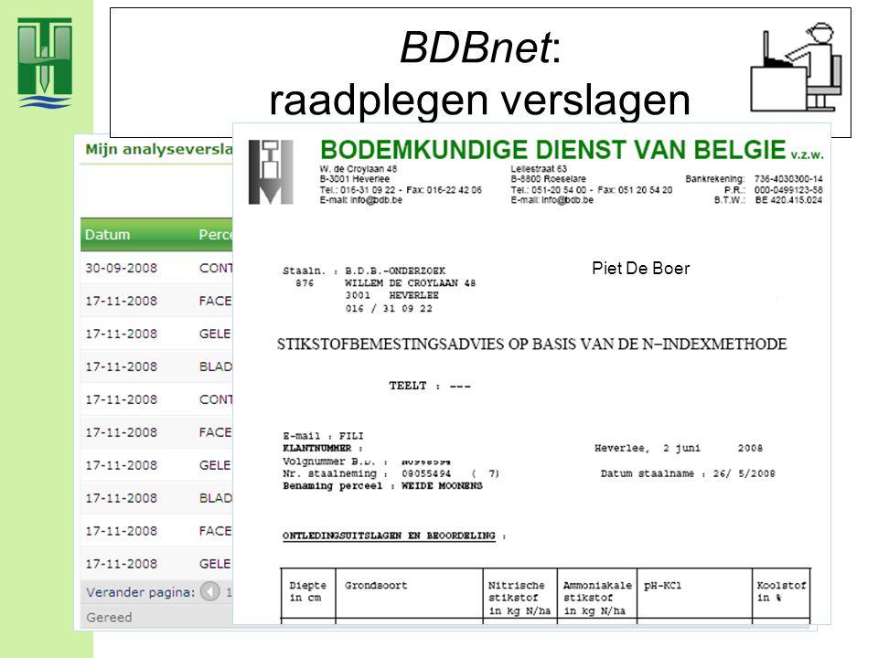 BDBnet: raadplegen verslagen