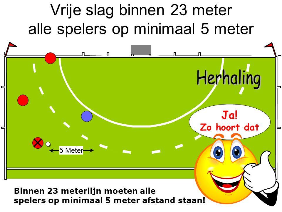 Vrije slag binnen 23 meter alle spelers op minimaal 5 meter