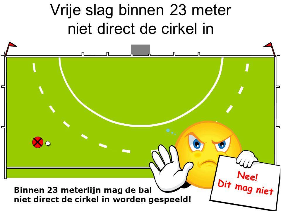 Vrije slag binnen 23 meter niet direct de cirkel in