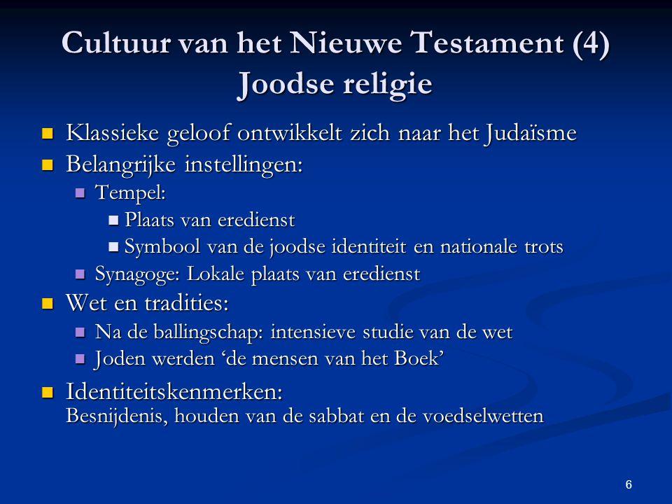 Cultuur van het Nieuwe Testament (4) Joodse religie