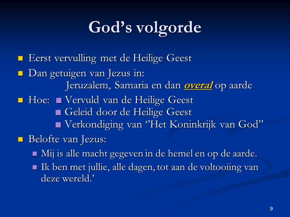 God's volgorde Eerst vervulling met de Heilige Geest