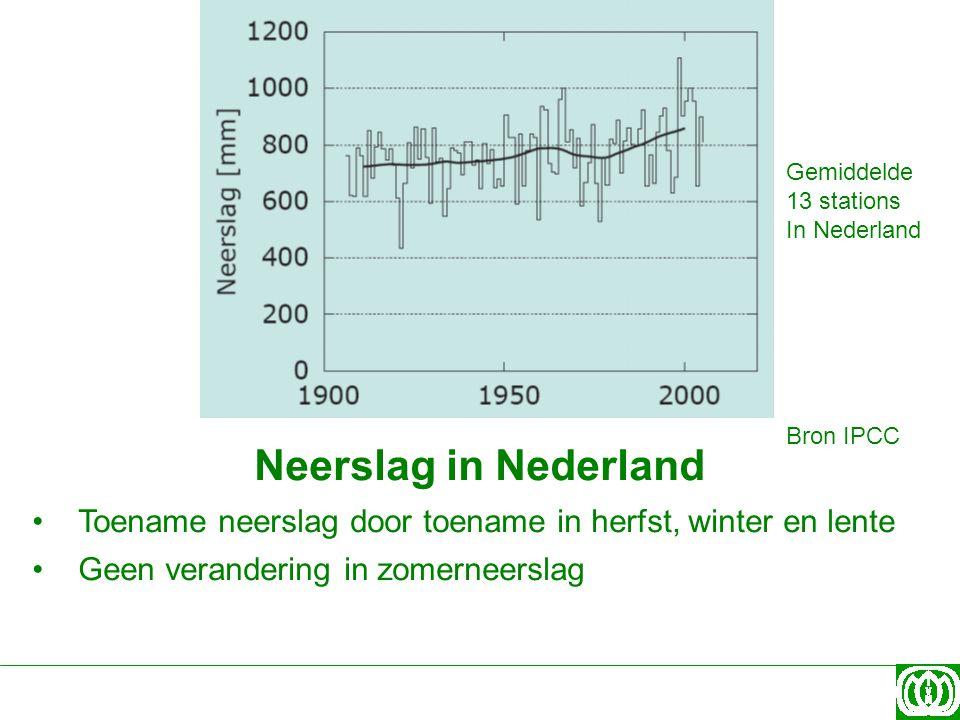Gemiddelde 13 stations. In Nederland. Bron IPCC. Neerslag in Nederland. Toename neerslag door toename in herfst, winter en lente.