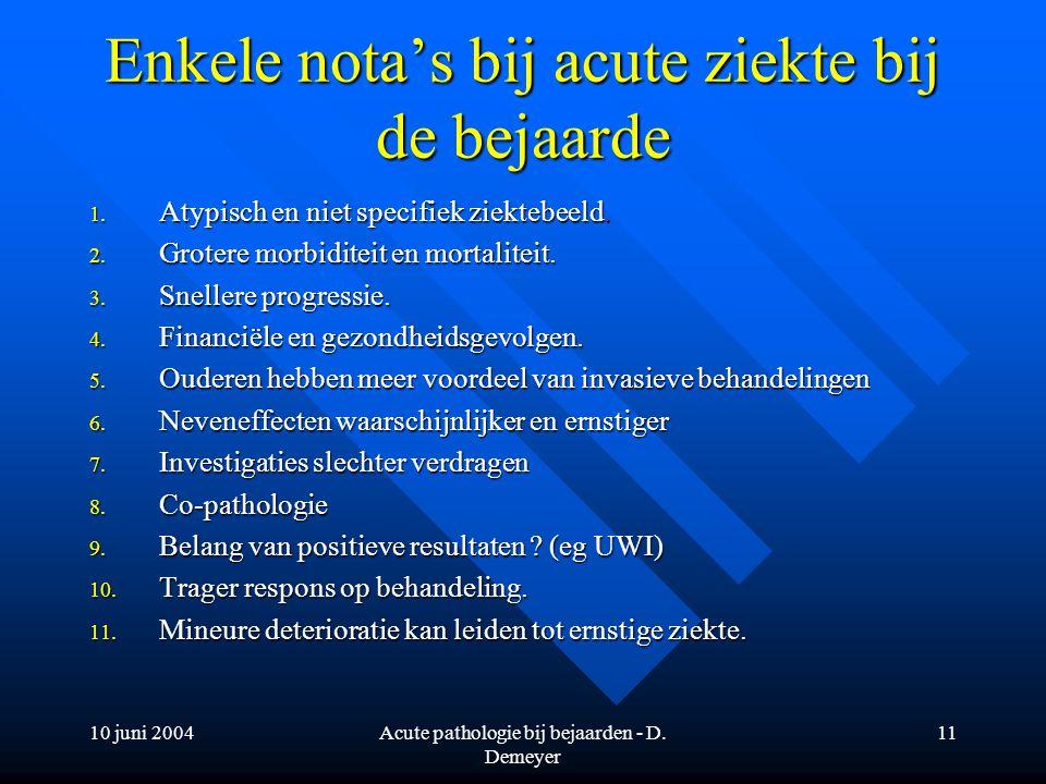 Enkele nota's bij acute ziekte bij de bejaarde
