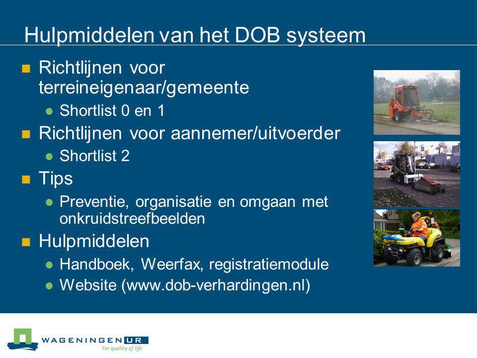 Hulpmiddelen van het DOB systeem