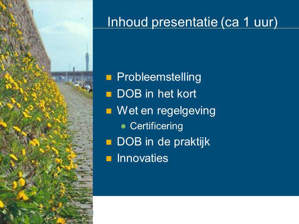 Inhoud presentatie (ca 1 uur)