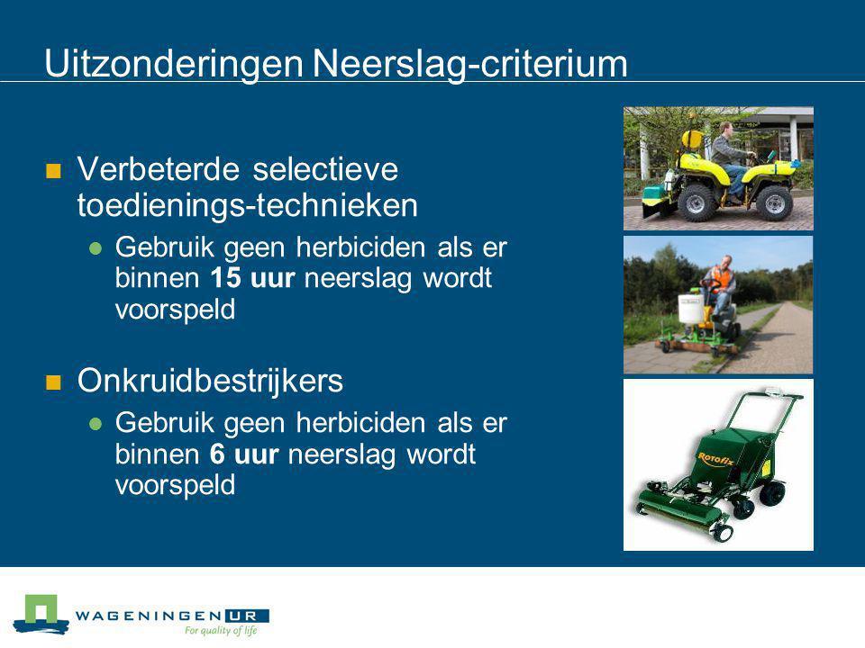Uitzonderingen Neerslag-criterium