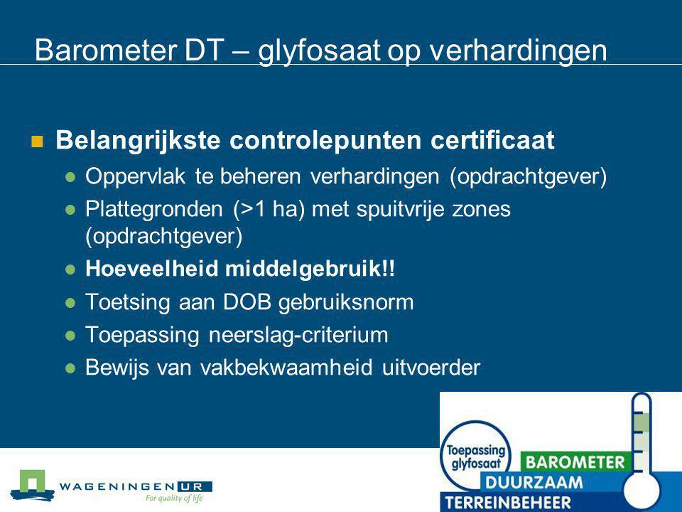 Barometer DT – glyfosaat op verhardingen
