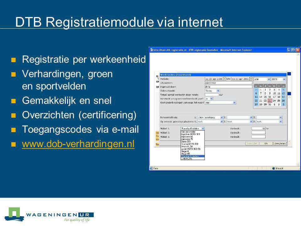 DTB Registratiemodule via internet